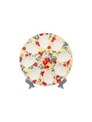 Тарелка для фаршированных яиц Земляника Elan Gallery. Цвет: желтый, красный