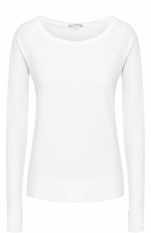 Хлопковый пуловер прямого кроя с круглым вырезом James Perse. Цвет: белый