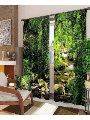 Комплект  фотоштор Лесной родник ТОМДОМ. Цвет: черный, зеленый, серый