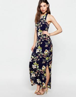 Parisian Платье макси с цветочным принтом. Цвет: темно-синий