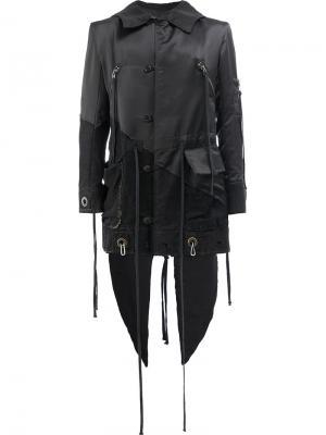 Асимметричное пальто с панельным дизайном Greg Lauren. Цвет: чёрный