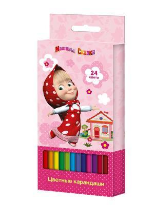 Цветные карандаши Маша и Медведь 24 цвета. Цвет: розовый, белый, красный