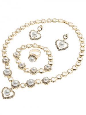 Набор бижутерии (Колье, серьги, браслет, кольцо) Chantal. Цвет: золотистый,белый