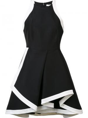 Платье с контрастной окантовкой Halston Heritage. Цвет: чёрный