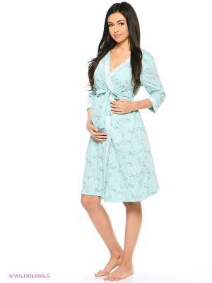 Комплект для беременных и кормления ( халат, ночная сорочка) 40 недель. Цвет: светло-голубой