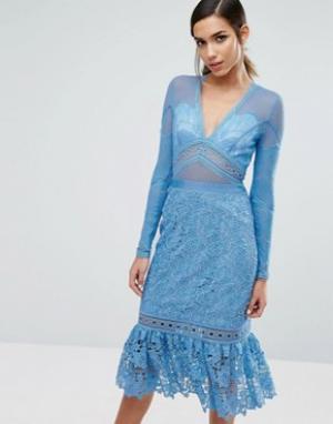 Three Floor Кружевное платье миди с оборкой на подоле. Цвет: синий