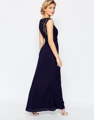 Elise Ryan Платье макси с кружевной спинкой. Цвет: темно-синий