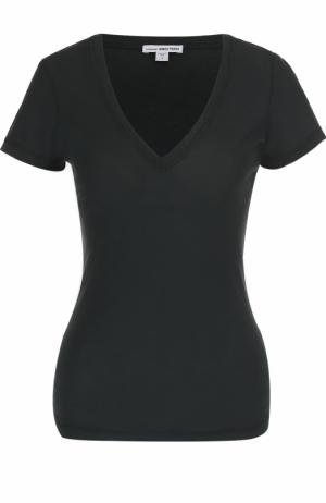 Приталенная футболка с V-образным вырезом James Perse. Цвет: хаки