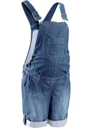 Мода для беременных: джинсовый полукомбинезон (синий «потертый») bonprix. Цвет: синий «потертый»