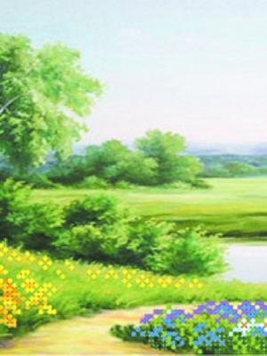 Рисунок на шелке У реки Матренин Посад. Цвет: салатовый
