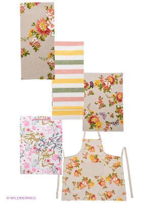 Набор кухонный ARLONI. Цвет: бежевый, желтый, зеленый, розовый