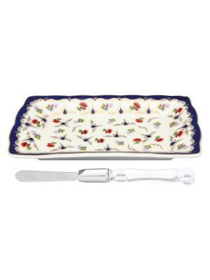 Тарелка под масло Цветочек с ножом Elan Gallery. Цвет: белый, красный, синий