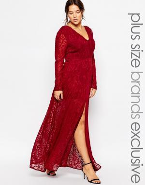 Truly You Кружевное платье макси с разрезом. Цвет: красный