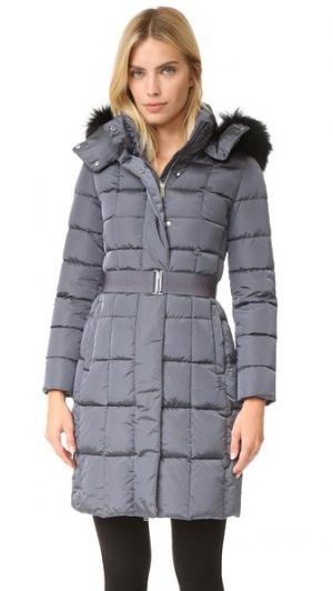 Пальто с поясом и меховой отделкой Add Down. Цвет: темно-серый