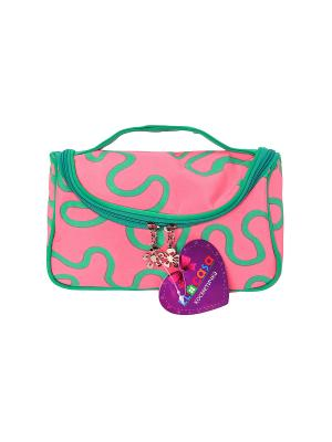 Косметичка - сумочка Розовая с узором EL CASA. Цвет: розовый, зеленый