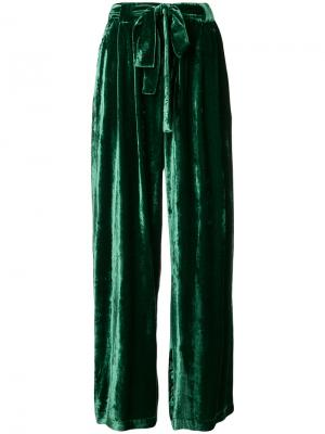 Бархатные брюки с завышенной талией Roberto Collina. Цвет: зелёный
