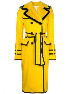 Classic Trench Coat With Grosgrain Tipping, Mink Fur Detachable Collar & Lapel In Nylon Slicker Thom Browne. Цвет: жёлтый и оранжевый