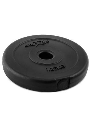 Диск пластиковый STARFIT BB-203  1,25 кг, черный. Цвет: черный