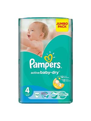Подгузники Active Baby-Dry 8-14 кг, 4 размер, 70 шт. Pampers. Цвет: зеленый