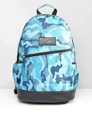 Heist Синий камуфляжный рюкзак с отделкой из искусственной кожи. Цвет: синий