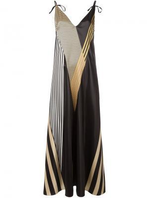 Длинное платье с полосатым принтом Attico. Цвет: чёрный
