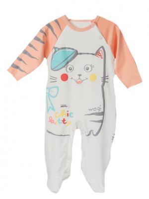 Комбинезон для малышей WO&GO. Цвет: молочный, персиковый