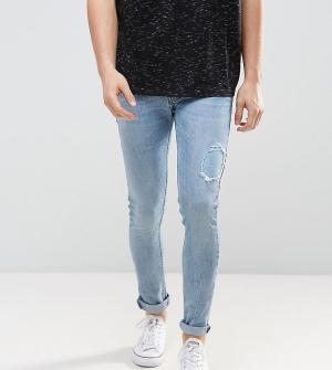 Just Junkies Светлые потертые супероблегающие джинсы. Цвет: синий