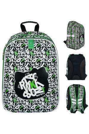 Рюкзак школьный ACTION!. Цвет: черно-бело-зеленый