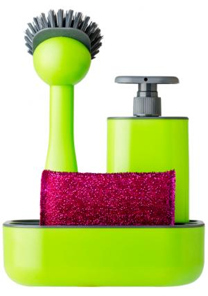 Дозатор, щетка для посуды, губка на подставке RENGO VIGAR. Цвет: зеленый (зеленый, розовый, серый)