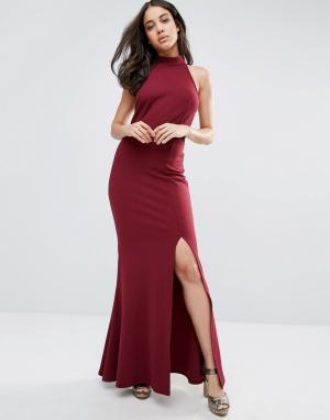 Club L Платье макси с открытой спиной и высоким разрезом. Цвет: красный
