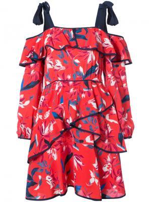 Платье с открытыми плечами и оборками Tanya Taylor. Цвет: красный