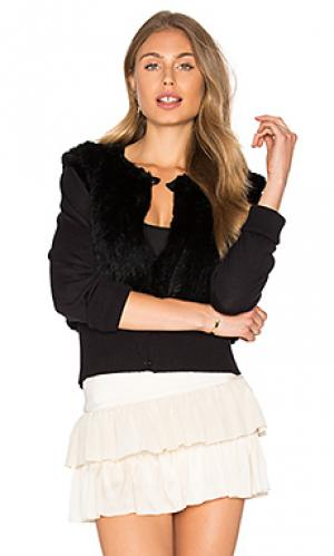 Flannel dharma rabbit fur cardigan Australia. Цвет: black