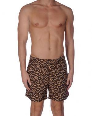 Пляжные брюки и шорты OBEY PROPAGANDA. Цвет: коричневый