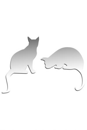 Зеркало Две кошки W-ERA. Цвет: зеркальный