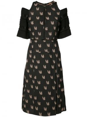 Жаккардовое платье с попугаями Yigal Azrouel. Цвет: чёрный