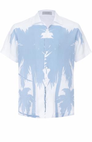 Льняная рубашка с короткими рукавами Cortigiani. Цвет: синий