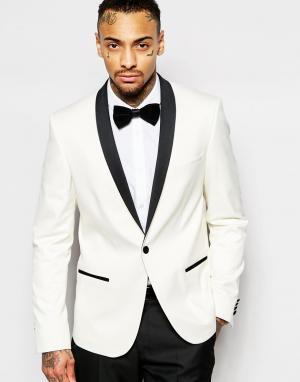 ASOS Приталенный пиджак-смокинг. Цвет: белый