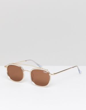 Quay Australia Круглые солнцезащитные очки в золотистой оправе. Цвет: золотой