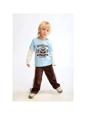 Спортивные брюки LOVEDO. Цвет: темно-коричневый, белый