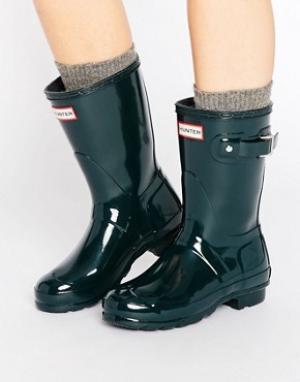 Hunter Короткие блестящие резиновые сапоги Original. Цвет: зеленый
