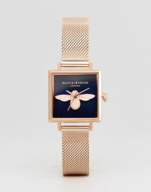 Olivia Burton Часы цвета розового золота с пчелой OB16AM96 3D. Цвет: золотой