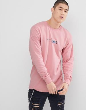 Stussy Розовый лонгслив с принтом. Цвет: розовый