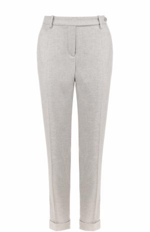 Облегающие кашемировые брюки с отворотами Loro Piana. Цвет: светло-серый