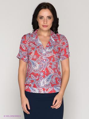 Блузка KEY FASHION. Цвет: коралловый, синий