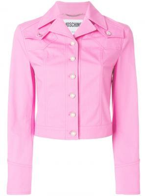 Джинсовая куртка Betty Boop с вышивкой Moschino. Цвет: розовый и фиолетовый