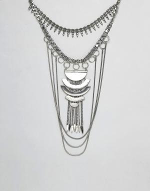 ASOS Броское ожерелье-воротник DESIGN. Цвет: серебряный