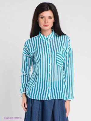 Блузка Esley. Цвет: голубой, белый