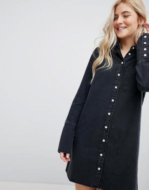 ASOS Черное джинсовое платье-рубашка с широкими манжетами DESIGN. Цвет: черный