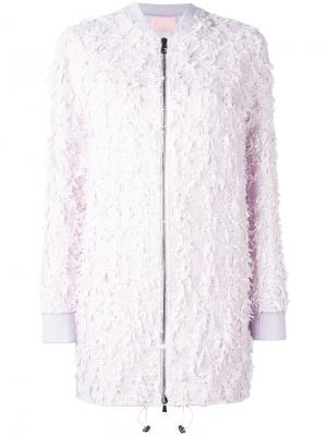 Удлиненная куртка-бомбер Giamba. Цвет: розовый и фиолетовый