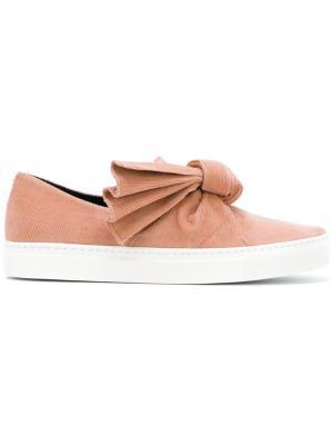 Кроссовки с бантом на плоской подошве Cédric Charlier. Цвет: розовый и фиолетовый